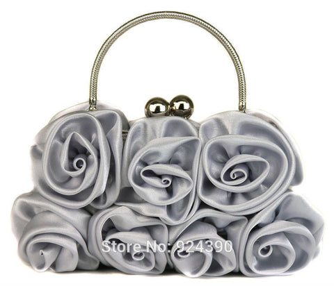 ElegantPark  Fashion TA013 Women Satin Rosette Evening Clutch Bags