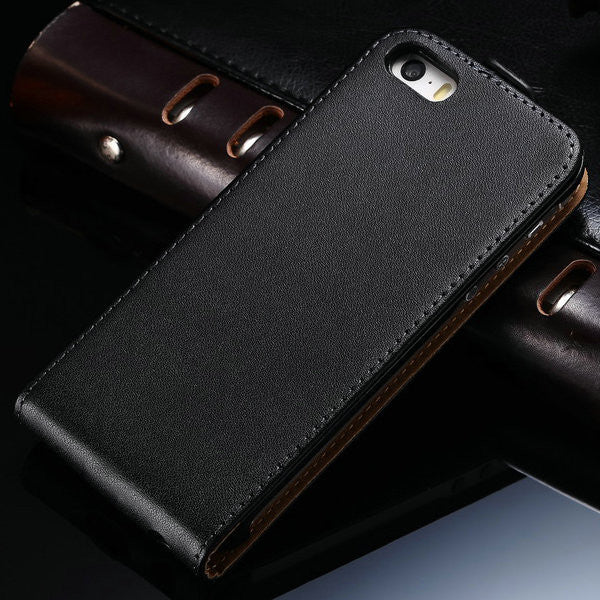 000b87265ac9 Fashion Style Luxury Genuine Leather Case For iPhone 5 5S Flip Style Top  Quality Phone Back