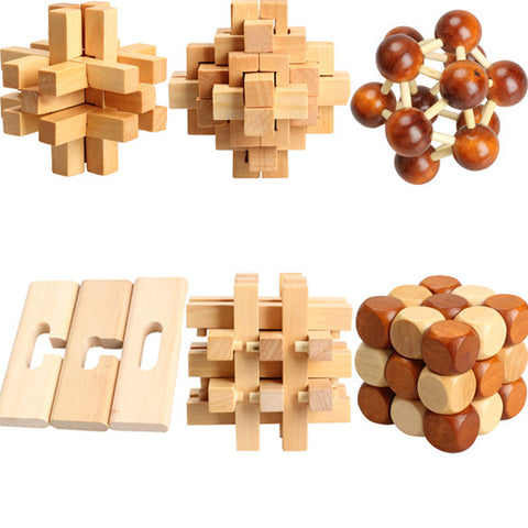 V1NF Dragon Tail Style Rubber Wood Adult Children Intelligence Puzzle Lock Toy