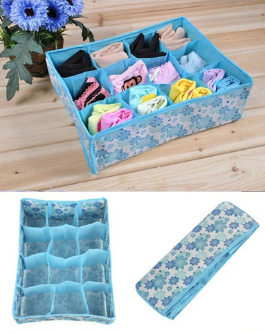 12 Cells Socks Underwear Ties Drawer Closet Home Organizer Storage Box Case