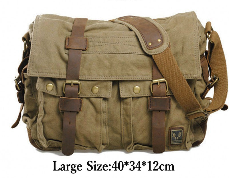 54cda9a1b10c Hotsale Will Smith men messenger bags military vintage canvas genuine  leather cross body bags 14 or 17