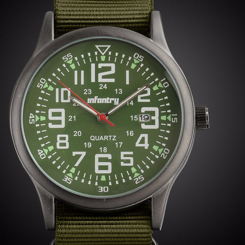 NEW ARRIVAL ! INFANTRY MEN'S Military Fashion Green Dial Quartz Date Wrist Watch Nylon Band