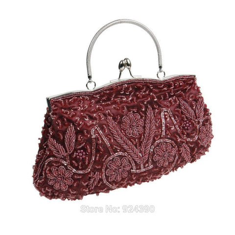 Many Color Fashion TA012 Women Satin Beads Sequins Kissing Lock Clasp Evening Clutch