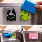 Mini Bathroom Shelves Soap Holder Fashion Carton Dish Cloth Sponge Holder with Suction Cup Color Random Delivery
