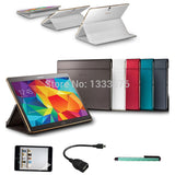 1:1 Case for Samsung Galaxy Tab S 10.5 T800 Business Stand Tablet Leather Case Cover for Samsung Tab S 10.5+Stylus Pen+Foil+OTG - Shopy Max