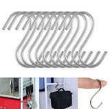 10 Pcs S Shape Hooks Stainless Steel Hanger Clasp Rack Clothes Pot Pan - Shopy Max