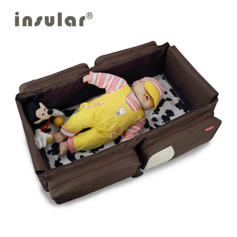 2015 New Arrival 2 in 1 Multifunctional Messenger Diaper Bag Movement Baby Bed Travelling Changing Bags Fold Baby Bed