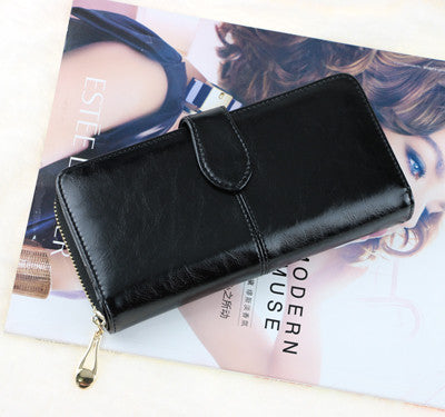 100% oil waxing cowhide wallet for women Long designer multi-card wallet holder women leather genuine purse free shipping - Shopy Max