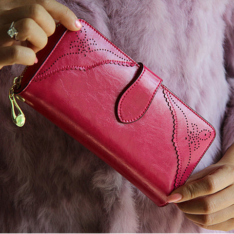100% oil waxing cowhide wallet for women Long designer multi-card wallet holder women leather genuine purse free shipping