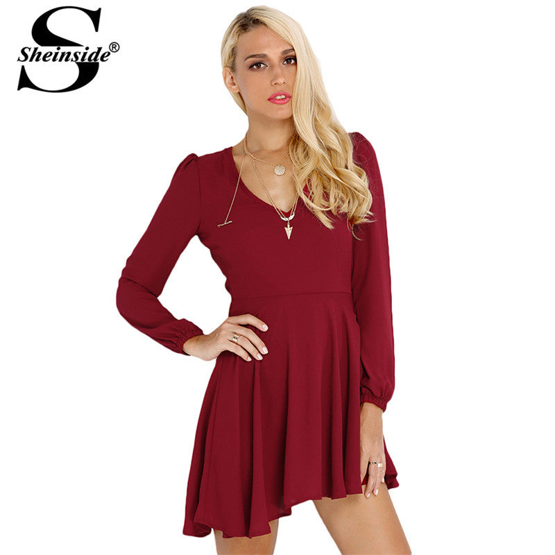 Sheinside Brand 2015 New Desigual Roupas Feminines Semi Formal Designer Classic Women Wine Red Long Sleeve V Neck Pleated Dress - Shopy Max