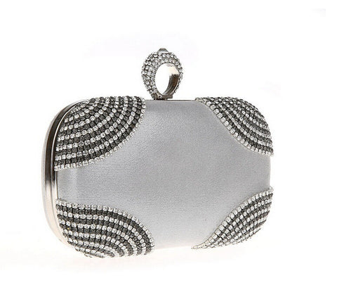 Silver Woman Evening bag Lady Diamond Rhinestone Clutch Crystal Clutch Wallet Purse for Wedding Party Bridal Hand Bags R8011-S