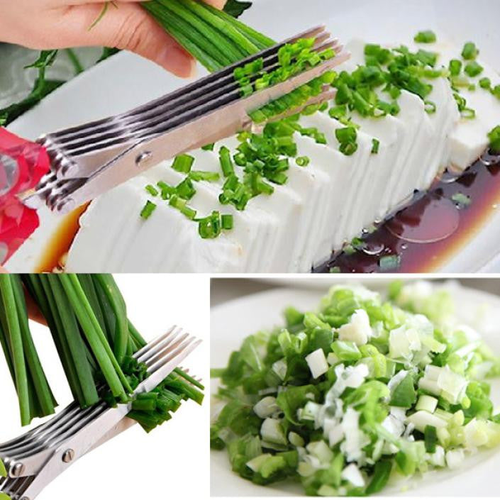 Stainless Steel 5 Layer Kitchen Scissors Kitchen Knives Sushi Shredded Scallion Cut Herb Scissors Spices Scissors - Shopy Max