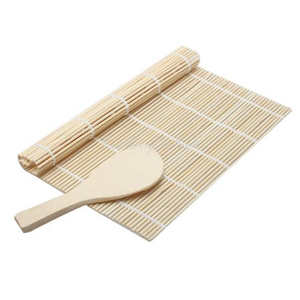 Sushi Rolling Roller Bamboo Material Mat Maker DIY and A Rice Paddle F#OS - Shopy Max