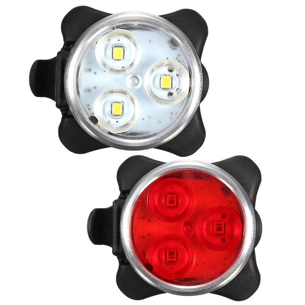 USB Rechargeable 4 Modes Bicycle 3 LED Bike Head Front Tail Clip Light Lamp Set