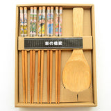 Zakka Family Kitchen Tableware Quality Nanmu Wood Japanese Chopsticks And Spoon Set For Sushi,Gift Box Pack - Shopy Max