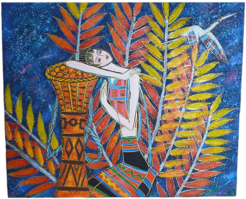 African Girl & Branches - 50cm x 60cm