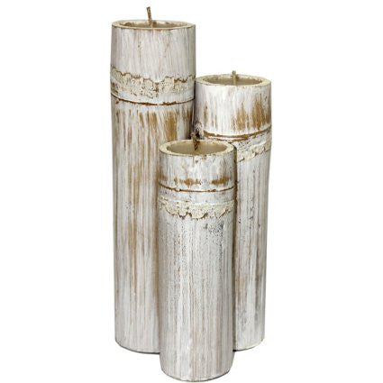 Set of 3 Bamboo Candles - Whitewash - Shopy Max