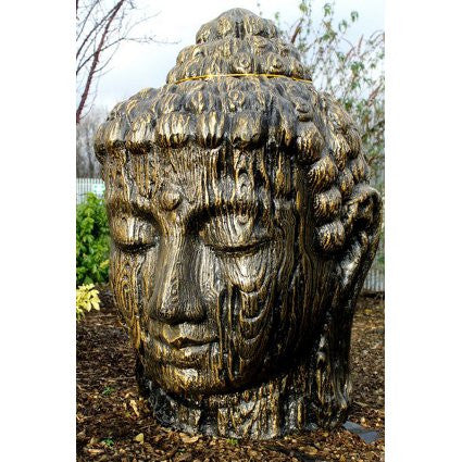 Buddha Head Motif Wood 100cm