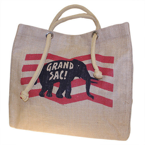 Big Jute Elephant Bag - Red (in French)