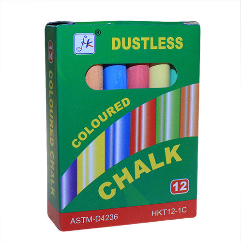 12 Assorted Coloured Dustless Chalks - Shopy Max