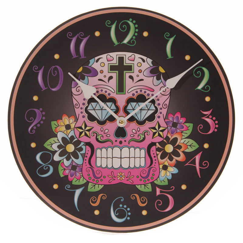 Day of the Dead Black Picture Clock - Shopy Max