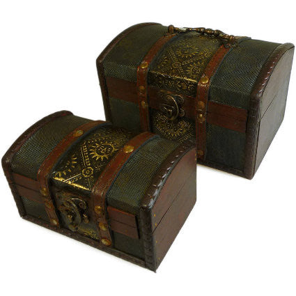 Set of 2 Colonial Boxes - Metal Embossed - Shopy Max