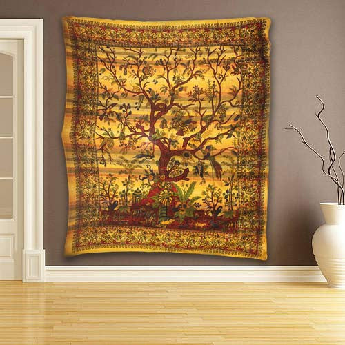 Cadi Cotton Bedspread / Wall Art - Tree of Life - Amber - Shopy Max