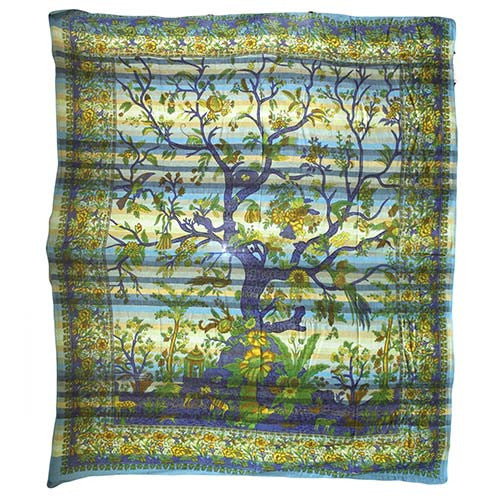 Cadi Cotton Bedspread / Wall Art - Tree of Life - Aqua - Shopy Max