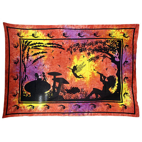 Red / Orange Fairy Under Tree Bedspread / Wall Art - Shopy Max