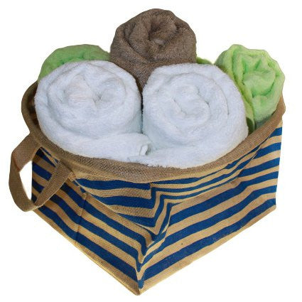 Big Jute Stripy Basket - Blue