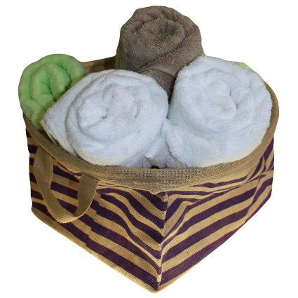 Big Jute Stripy Basket - Purple