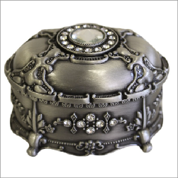 Jewellery Casket - Oval with Crystals - Shopy Max
