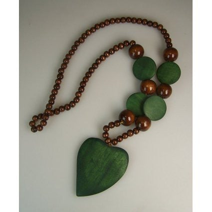 Monkey Wood Heart Pendant - Emerald