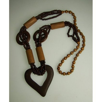 Monkey Wood Heart Necklaces - Tan