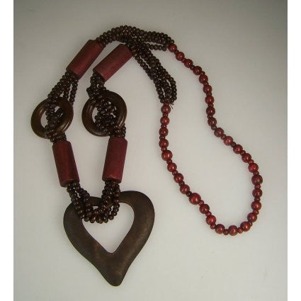 Monkey Wood Heart Necklaces - Ruby