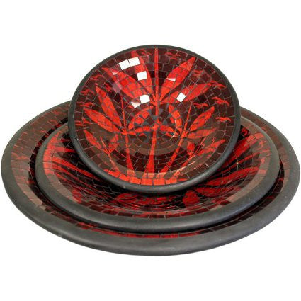 Mosaic Bowls - Red Palms,set of 3