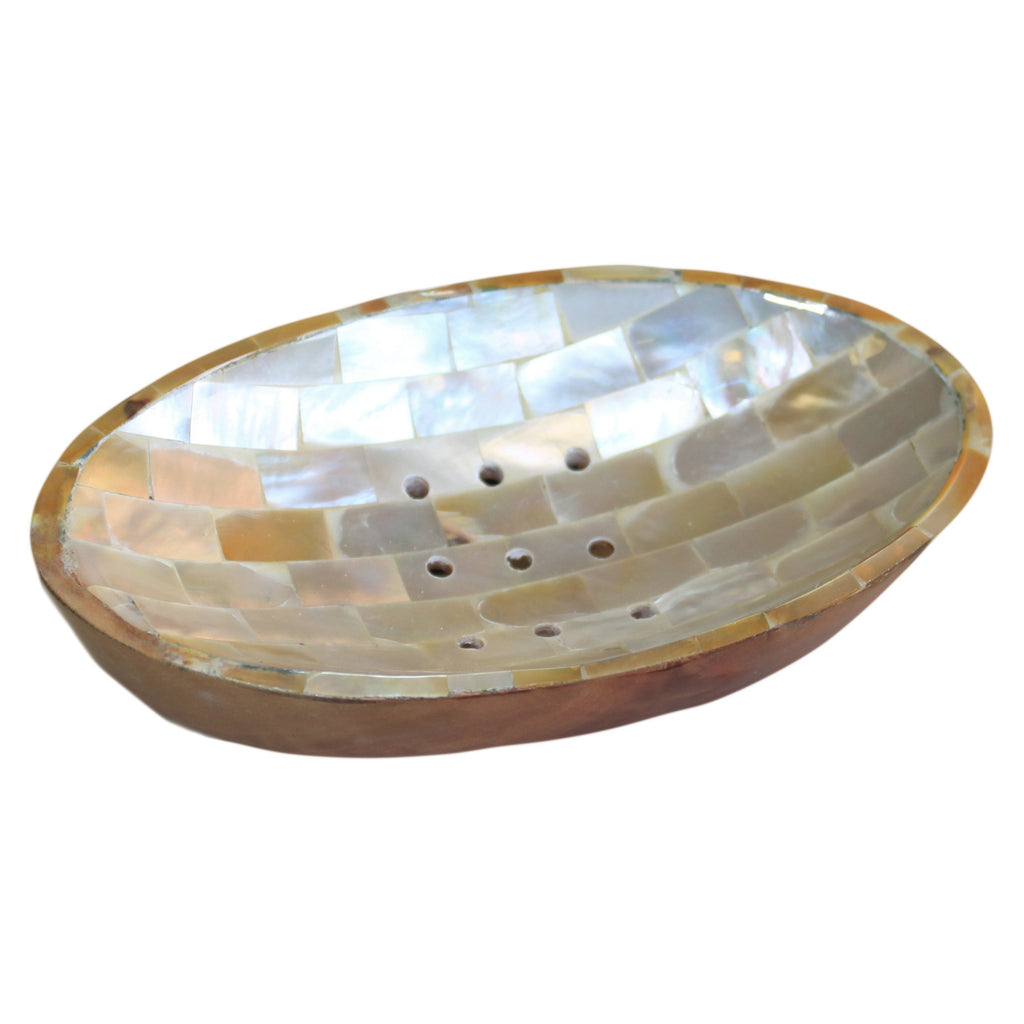 Mahogany & Shell Soap Dish - Oval