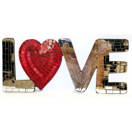 Mosaic Word - Love (heart) mirror