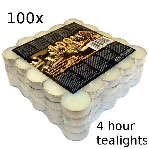 100x Tealights - 4 hour - Shopy Max