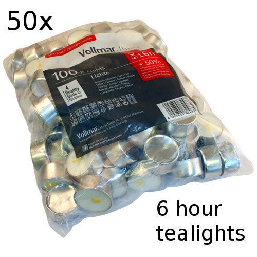 50x Tealights - 6 hour