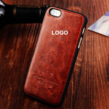 original leather phone case For iphone 5 5S 5G cover senior high-grade Genuine leather + plastic back cover For apple LOGO - Shopy Max
