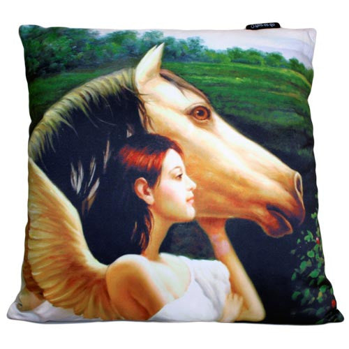 Art Cushion Cover - Angel with Horse - Shopy Max