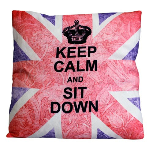 Art Cushion Cover - Keep Calm & Sit Down - Shopy Max