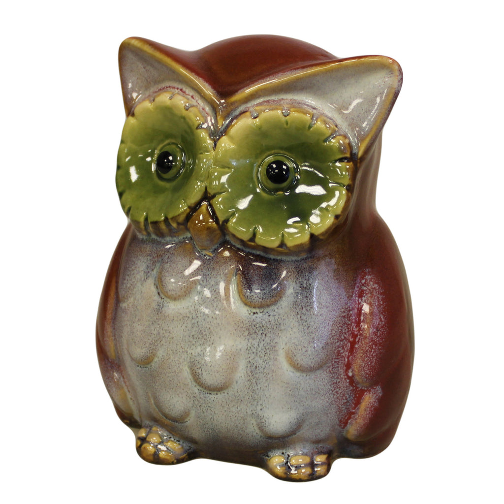 Ceramic Owl Bank - Red