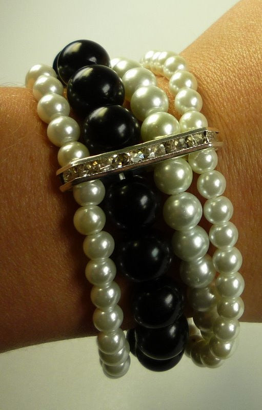 Perilous Pearls Four String Bracelet & Diamante - Shopy Max