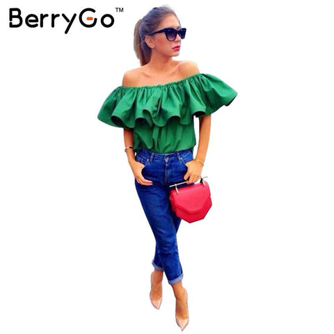 BerryGo Top Quality Sexy off shoulder women blouse shirt Summer crop tops slash neck