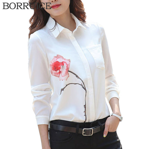 BORRUICE Chiffon Blouse 2016 Fashion Women Blouses Shirt Plus Size Women Clothing