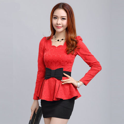 2016 New Women blouses Retro fashion casual long-sleeved Lace Tops Slim temperament