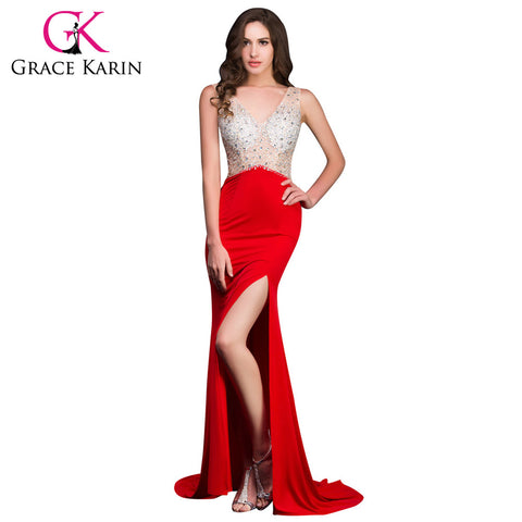 2016 New Grace Karin Long Red Mermaid Evening Dresses Micro Fiber Open Back Backless