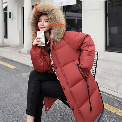 Winter Hooded Warm Down Coat Women Casual Long Down Jackets Ladies Thicken